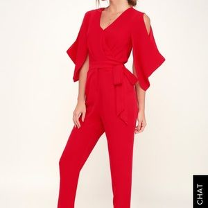"""Lulus """"Hold Tight Red Jumpsuit"""" size L"""